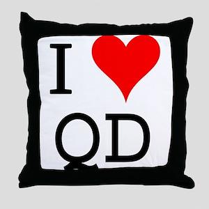 I Love QD Throw Pillow
