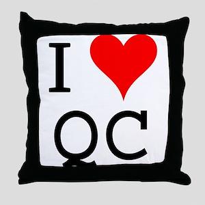 I Love QC Throw Pillow