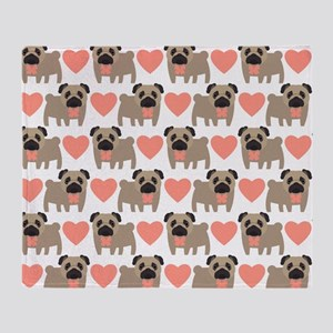 Pugs And Hearts Throw Blanket