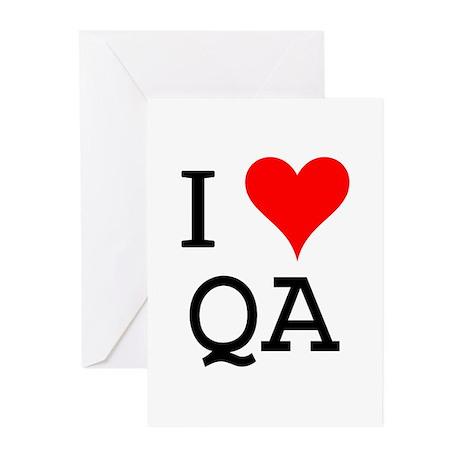 I Love QA Greeting Cards (Pk of 10)