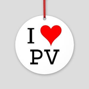 I Love PV Ornament (Round)