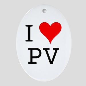 I Love PV Oval Ornament