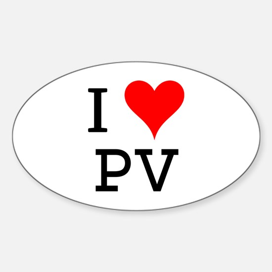 I Love PV Oval Decal