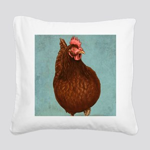 Rhode Island Red Square Canvas Pillow