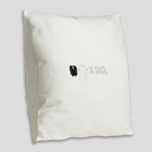 I DO. Burlap Throw Pillow