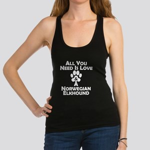 Love And A Norwegian Elkhound Racerback Tank Top