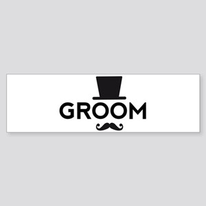 Groom with hat and mustache Bumper Sticker