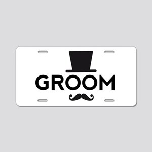 Groom with hat and mustache Aluminum License Plate