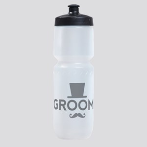 Groom with hat and mustache Sports Bottle