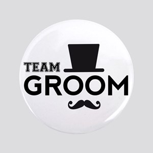 """Team groom, hat and mustache 3.5"""" Button"""