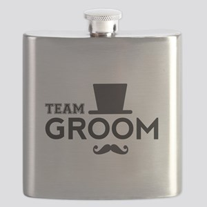 Team groom, hat and mustache Flask