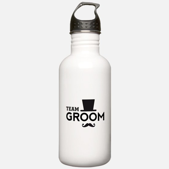 Team groom, hat and mustache Water Bottle