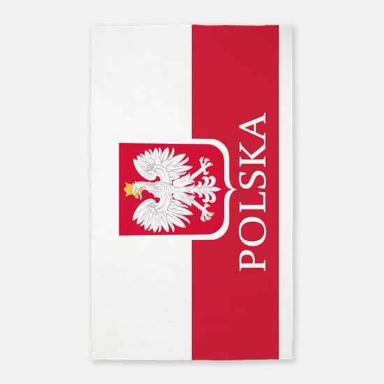 Polska Polish Flag Coat of Arms 3'x5' Area Rug
