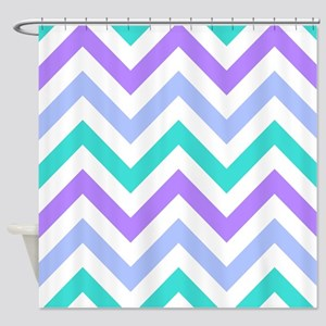 Blue Purpleturquoise And White Chevrons Shower C
