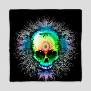 Marijuana Psychedelic Skull Queen Duvet