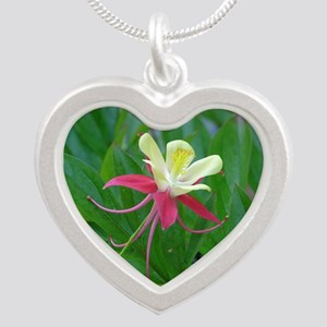 Two-toned Columbine Silver Heart Necklace