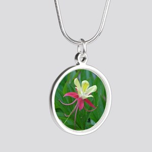 Two-toned Columbine Silver Round Necklace