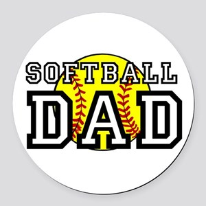 Softball Dad Round Car Magnet