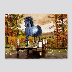 Horse on the Lake 5'x7'Area Rug