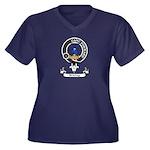 Badge-Stirli Women's Plus Size V-Neck Dark T-Shirt