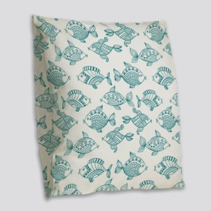 Modern nautical fish pattern Burlap Throw Pillow