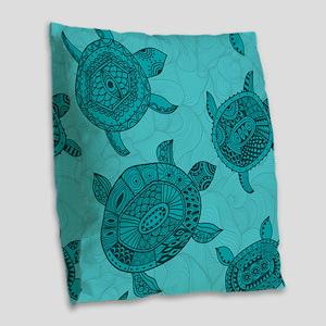 Tropical sea turtles Burlap Throw Pillow