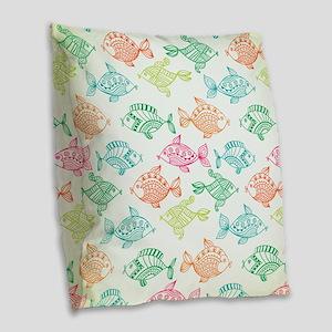 Modern summer fish pattern Burlap Throw Pillow