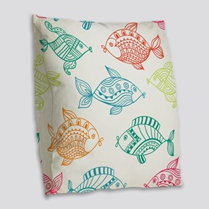 Retro colorful summer fish pattern Burlap Throw Pi