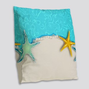 Modern starfish beach Burlap Throw Pillow