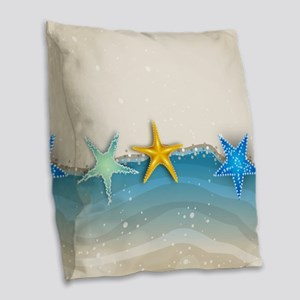 Beautiful starfish beach Burlap Throw Pillow