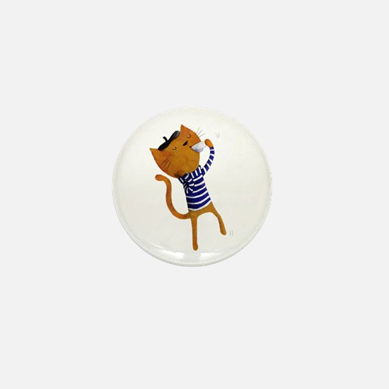 French cat with coffee Mini Button