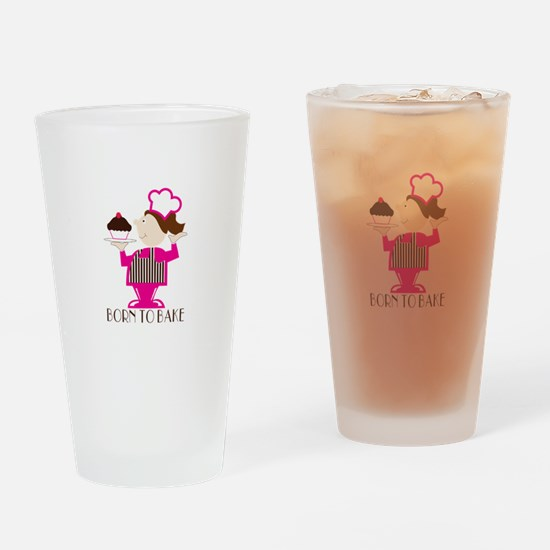 Born To Bake Drinking Glass
