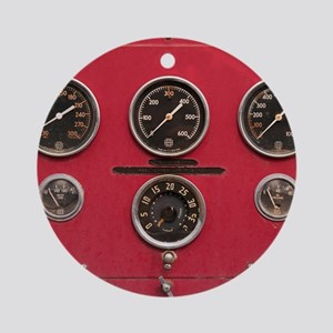 Fire Truck Gauges Round Ornament