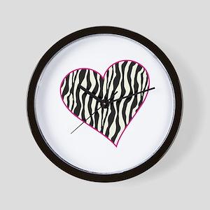 Zebra Heart Wall Clock