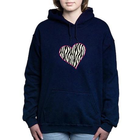 Zebra Heart Women's Hooded Sweatshirt