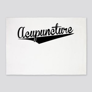 Acupuncture, Retro, 5'x7'Area Rug