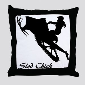 Sled Chick Throw Pillow