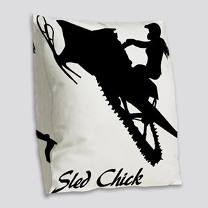 Sled Chick Burlap Throw Pillow
