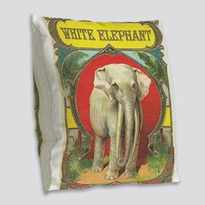 vintage white elephant whimsical gifts Burlap Thro