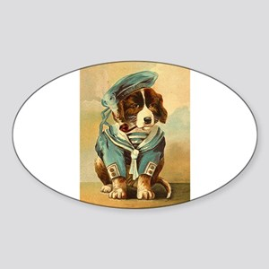 vintage Whimsical dog in a sailor suit Sticker