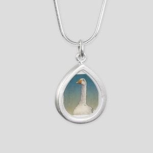 Embden Goose Silver Teardrop Necklace