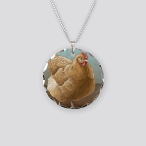 Buff Orpington Hen Necklace Circle Charm