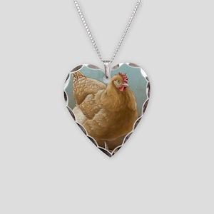 Buff Orpington Hen Necklace Heart Charm