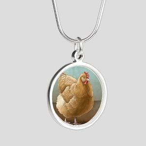 Buff Orpington Hen Silver Round Necklace