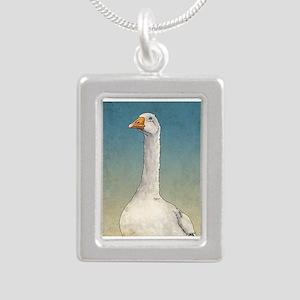 Embden Goose Silver Portrait Necklace