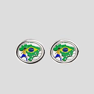 Brasil Futebol 2014 Oval Cufflinks