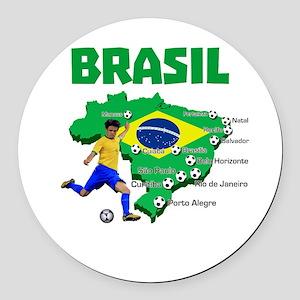 Brasil Futebol 2014 Round Car Magnet