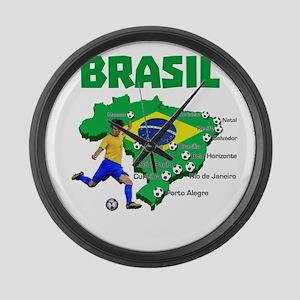 Brasil Futebol 2014 Large Wall Clock