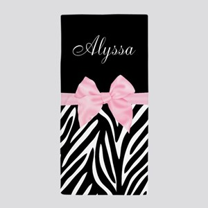 ea9654be35562f Black Pink Bow Zebra Personalized Beach Towel