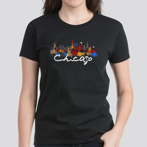Chicago Illinois Skyline Women's Dark T-Shirt